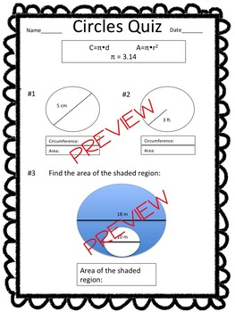 Area and Circumference Worksheet