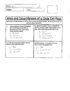 Area and Circumference of Circle Exit Pass