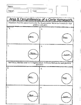 Area and Circumference of Circle Homework