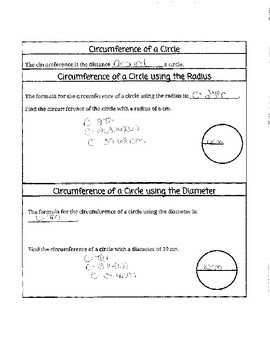 Area and Circumference of Circle Notes