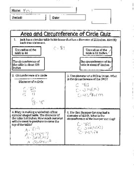 Area and Circumference of Circle Quiz