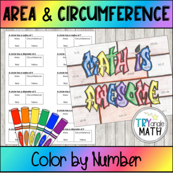 Area and Circumference of Circles - Color by Number