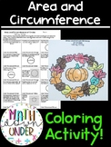 Area and Circumference of Circles Coloring Activity - Fall Math