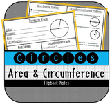 Area and Circumference of Circles Flipbook Notes