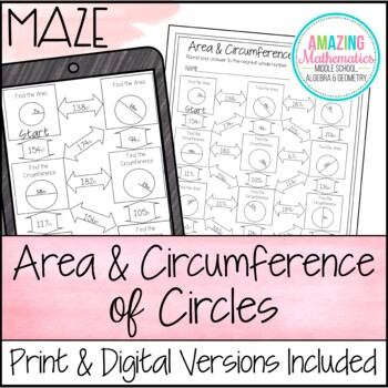 Area And Circumference Of Circles Maze Worksheet By Amazing Mathematics