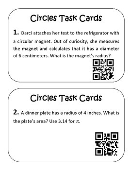 Area and Circumference of Circles QR Code Task Cards