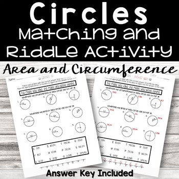 Area and Circumference of Circles Riddle Activity
