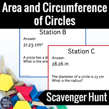 Area and Circumference of Circles Scavenger Hunt