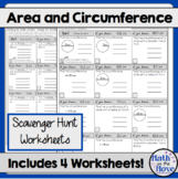 Area and Circumference of Circles - FOUR Scavenger Hunt Worksheets