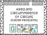 Area and Circumference of Circles Scavenger Hunt (Easier Problems)