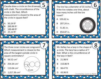 Area and Circumference of Circles Task Cards