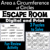 Area and Circumference of a Circle Game: Geometry Escape Room - Math