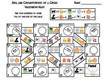 Area and Circumference of a Circle Game: Halloween Math Maze
