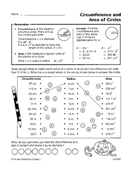 Area and Circumference of a Circle (CCSS 7.G.B.4)