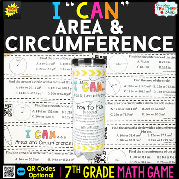 Area and Circumference of a Circle Seventh Grade Math Game