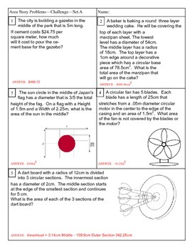 Area and Circumference of a Circle Story Problems Set A