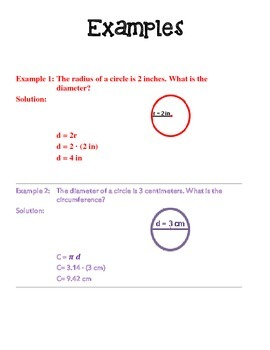Circumference of a Circle-Study Guide and Fun Cards