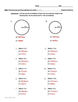 Area and Circumference of a Circle Worksheet Packet