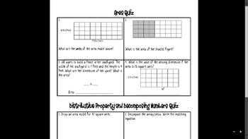 Area and Decomposing Multiplication Sentences (Distributive Property)