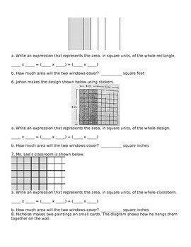 Area and Distributive Property Worksheet