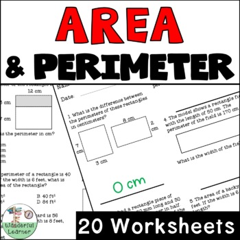 Area and Perimeter Worksheets No Prep 4th Grade