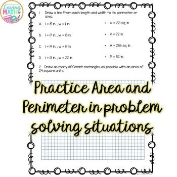 Area and Perimeter Practice Activities