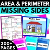 Area and Perimeter Missing Sides - Area Activities Worksheets Games