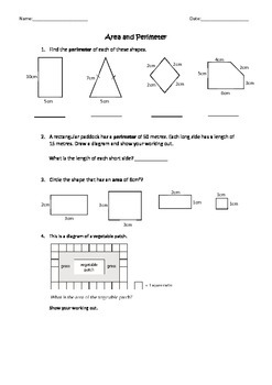 Area and Perimeter Assessment Task