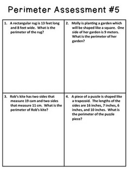 Area and Perimeter Assessments - 5 Each - With Key!