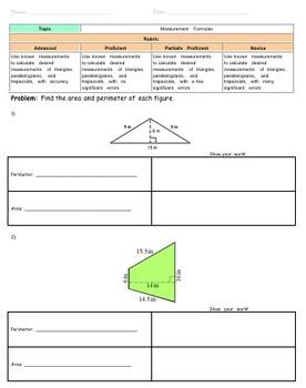 Area and Perimeter Assessments / Homework / Worksheets