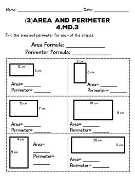 Area and Perimeter Assessments: Three Summative and/or Pre-Assessments 4.MD.3