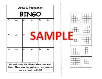 Area and Perimeter BINGO