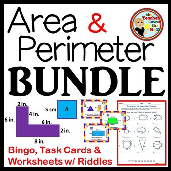 Area and Perimeter BUNDLE - BIngo/Task Cards/ and Worksheets w/ Riddles!!