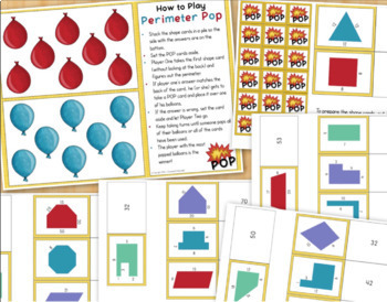 Area and Perimeter BUNDLE Games Task Cards Worksheets for 3rd Grade Math