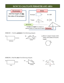 Perimeter and Area of Rectangles and Triangles
