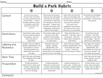 Area and Perimeter: Build a Park Project Based Learning