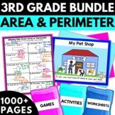 Area and Perimeter Worksheets Games Activities Bundle