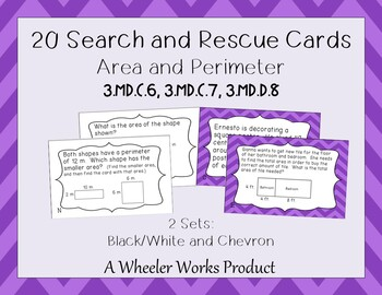 Area and Perimeter Bundle: Task Cards, Search and Rescue - 68 Questions