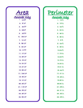 Area and Perimeter Card Game - 4th and 6th Grade Common Core Math