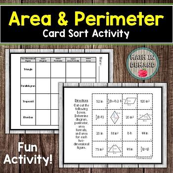 Perimeter And Area Sort Teaching Resources | Teachers Pay Teachers