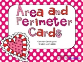Area and Perimeter Cards-Heart Themed-Common Core Aligned