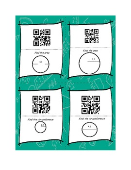 Area and Perimeter: Circles Scavenger Hunt with QR Codes