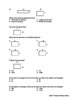 Area and Perimeter Class Work