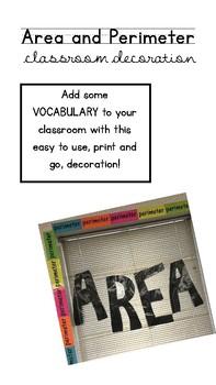 Area and Perimeter Classroom Decor