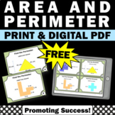 FREE Area and Perimeter Task Cards, 3rd Grade Math Distance Learning Game