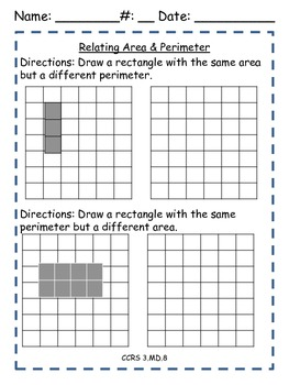 Area and Perimeter - Common Core Worksheets