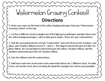 Area and Perimeter Craft - Watermelon Growing Contest
