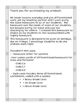 Area and Perimeter DIfferentiated Homework