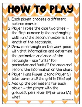 Area and Perimeter Dice Game PRINT AND GO
