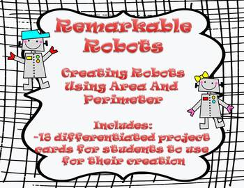 Area and Perimeter - Differentiated Robot Craftivity - Com